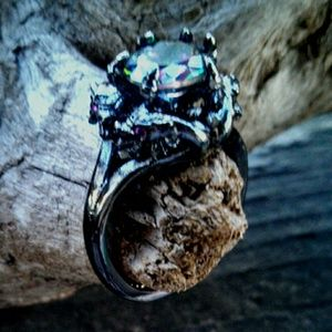 Four Dragon's Black Gold Plated Rainbow Topaz Ring